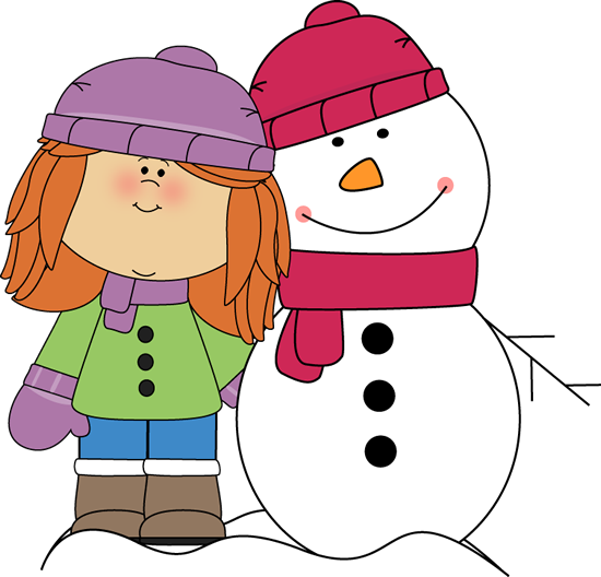 Girl With Arm Around Snowman Clip Art Girl With Arm Around ...