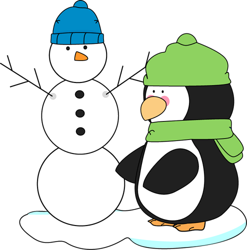 Penguin and Snowman Clip Art - Penguin and Snowman Image