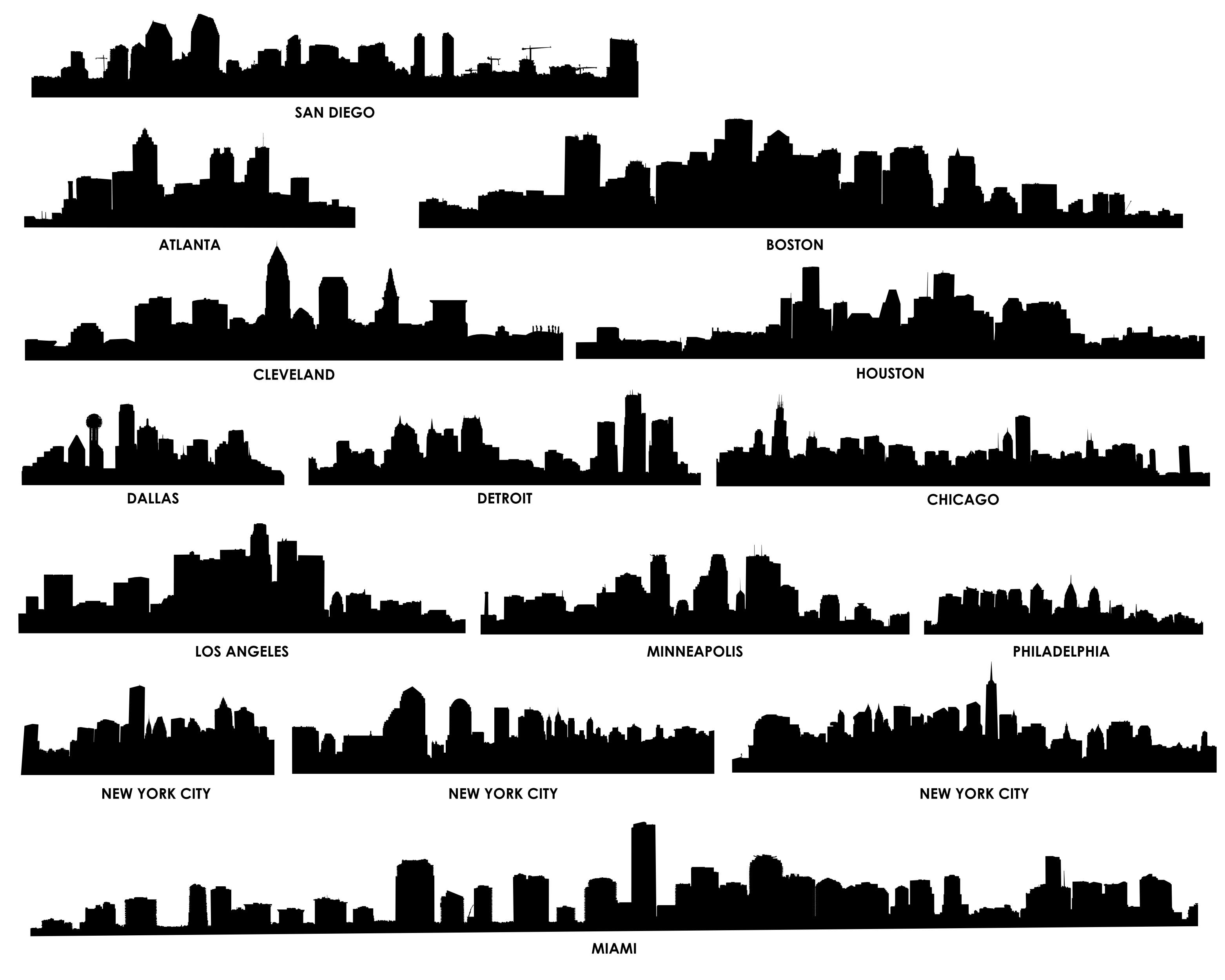 City Skyline Silhouette 02 Vector EPS Free Download, Logo, Icons ...