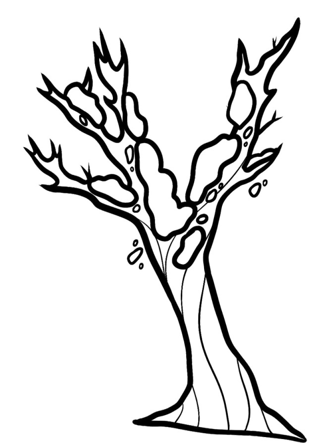 Beautiful Bare Tree Without Leave Coloring Page Best Resolutions ...