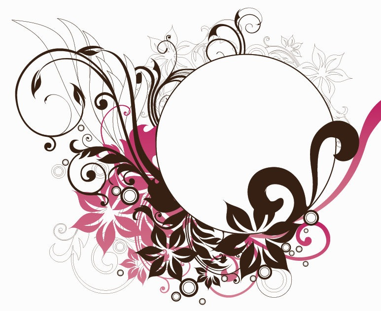 Circle Frame with Floral Decorations Vector Graphic | Free Vector ...