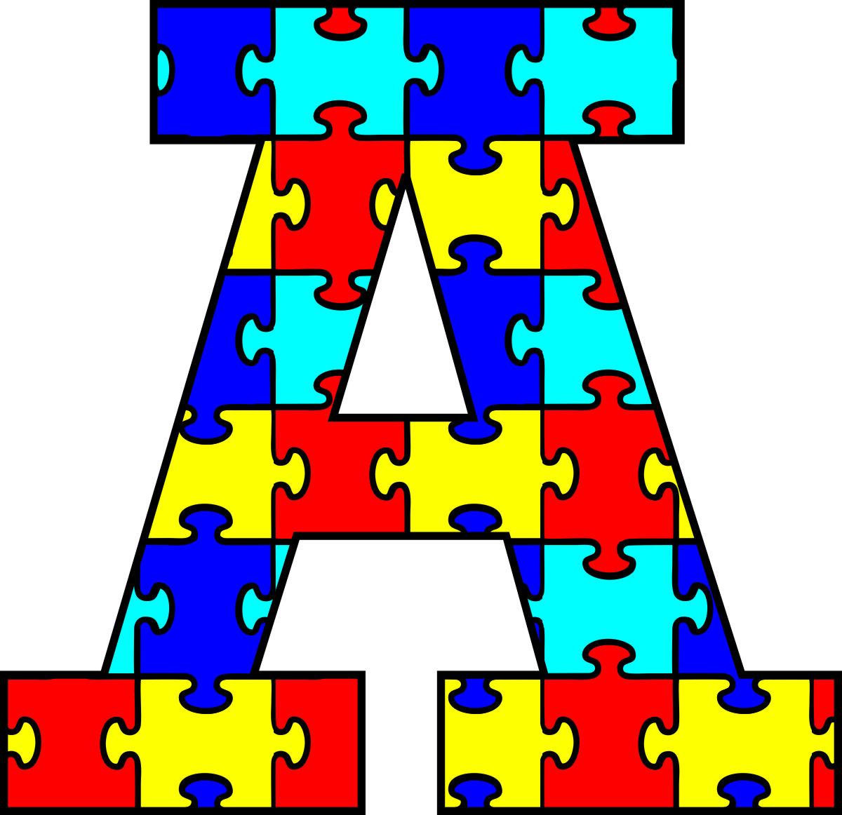 autism puzzle clipartsco With puzzle piece letters