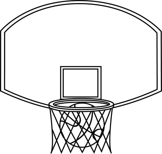 Black and White Basketball Backboard and Ball Clip Art - Black and ...
