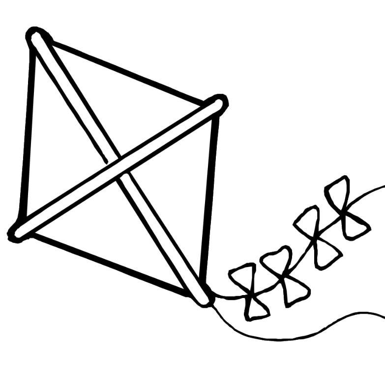 clipart black and white kite - photo #14