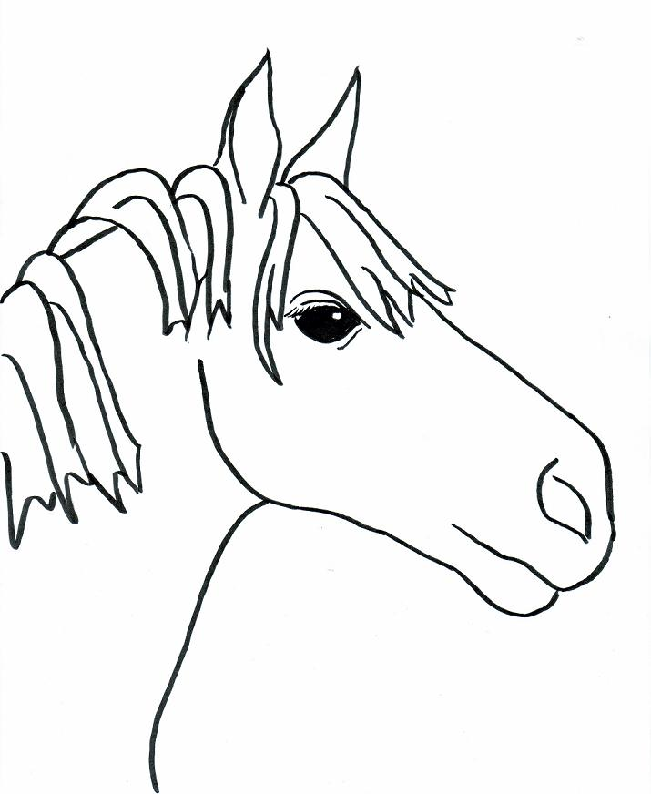 Horse head drawing for kids - photo#23