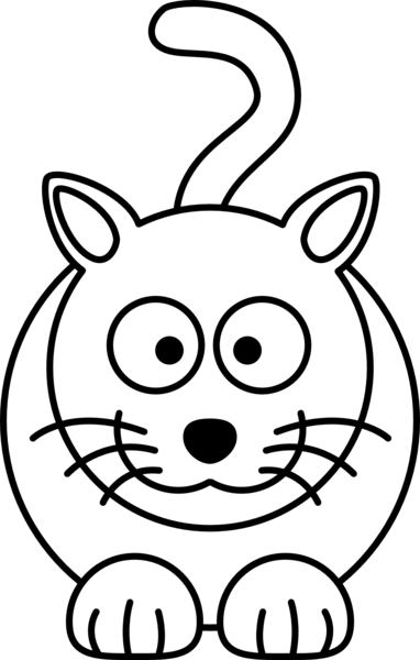 Lemmling Cartoon Cat Black White Line Art Coloring Book Colouring ...