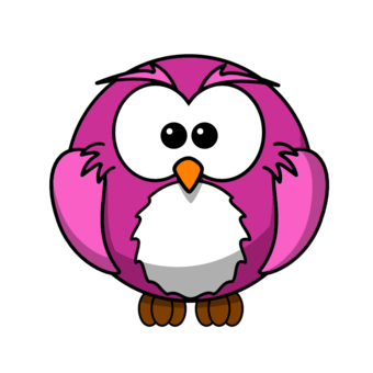 pink and blue owl clip art