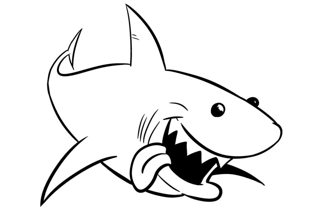 Shark clipart black and white