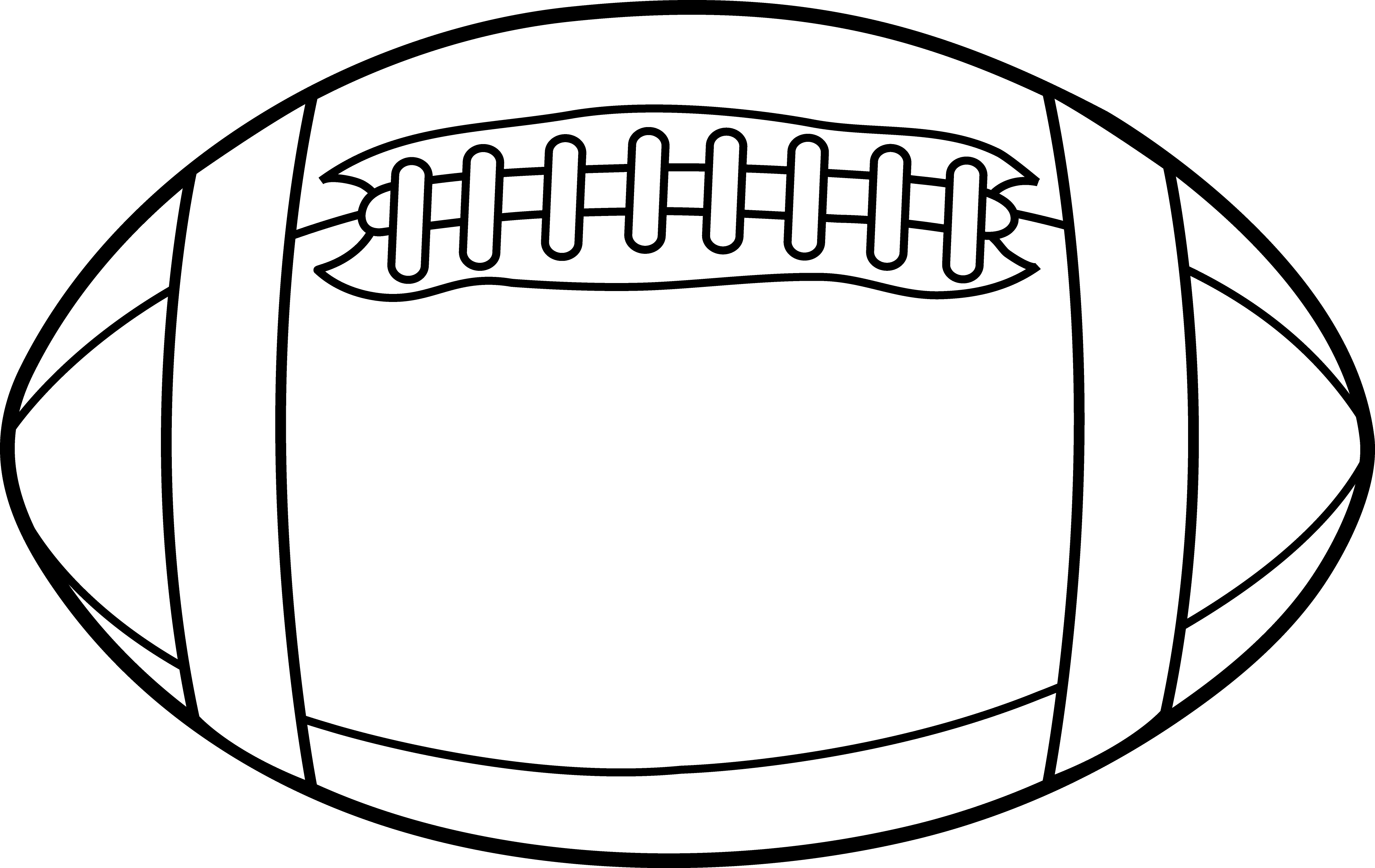 Football or Rugby Ball Line Art - Free Clip Art