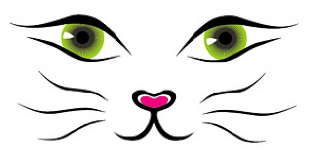 Line Drawing Face Vector : Cartoon cat face cliparts