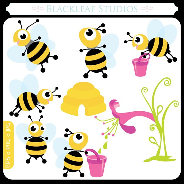 Digital Download Discoveries for BUSY BEES CLIPART from EasyPeach.com
