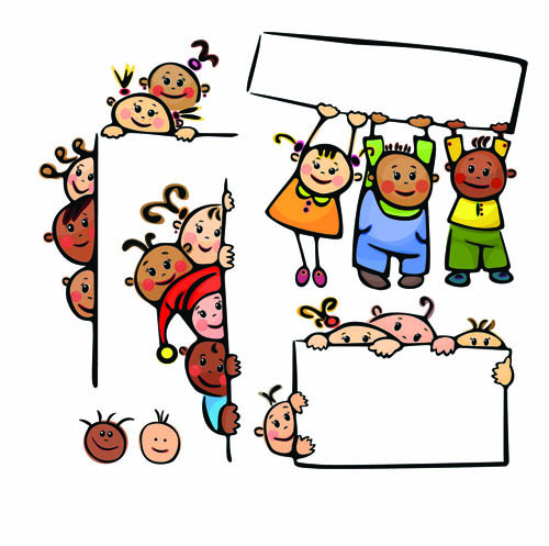 Children cartoon illustration vector Free Vector / 4Vector