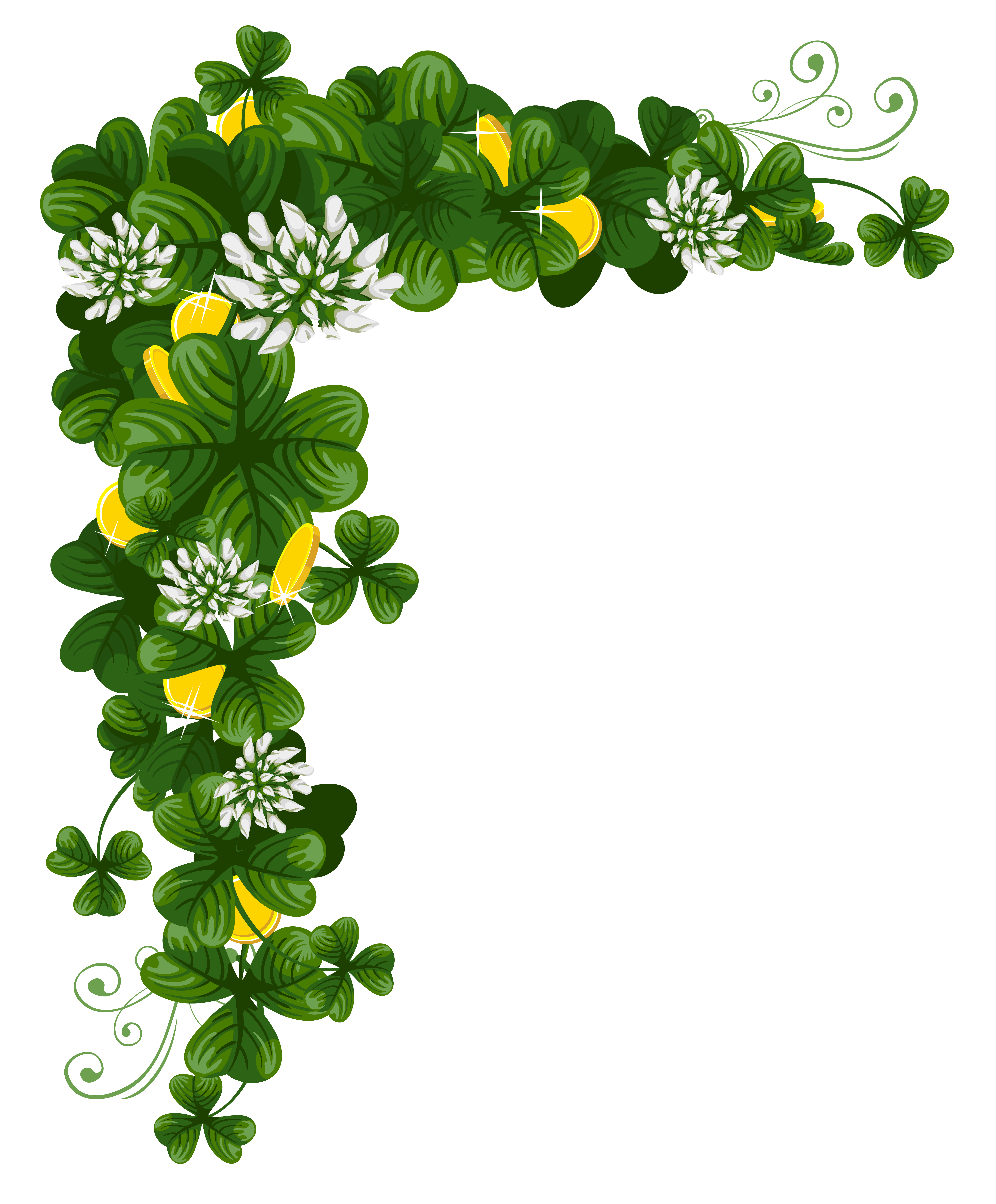 St Patricks Day Shamrocks with Coins PNG Clipart
