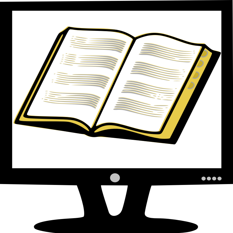 Clipart - Book on Monitor