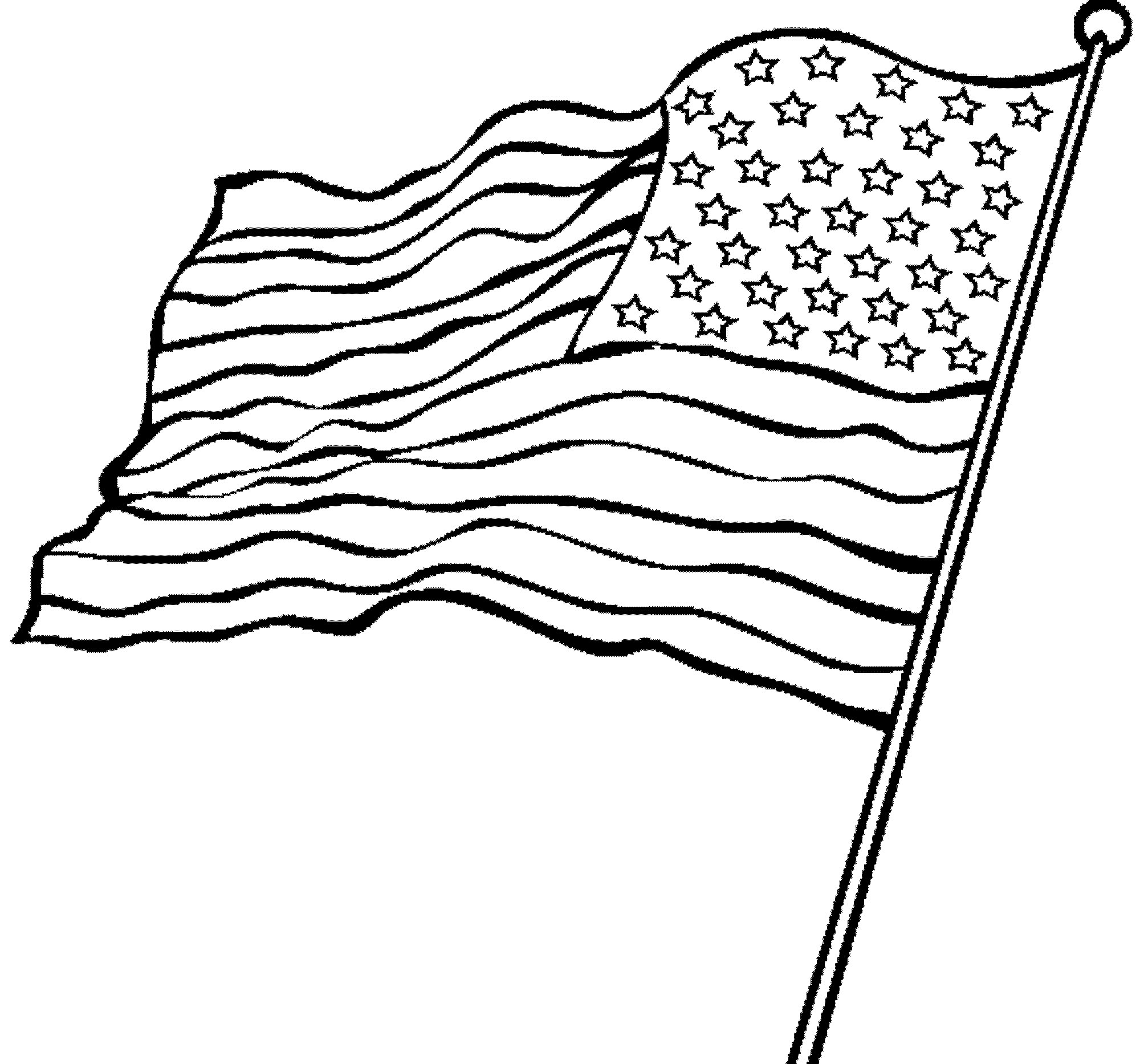 Waving american flag drawing for Coloring page of the american flag