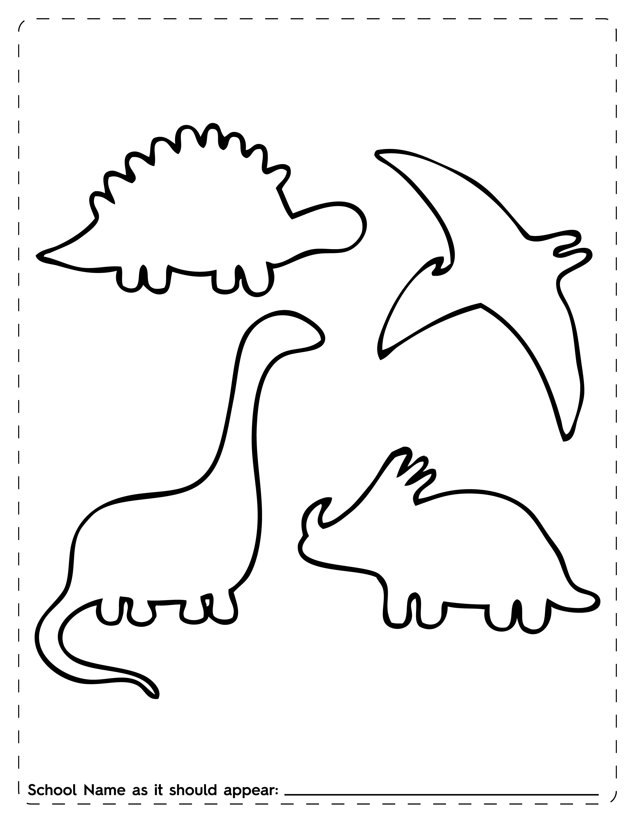 Current image in dinosaur outline printable