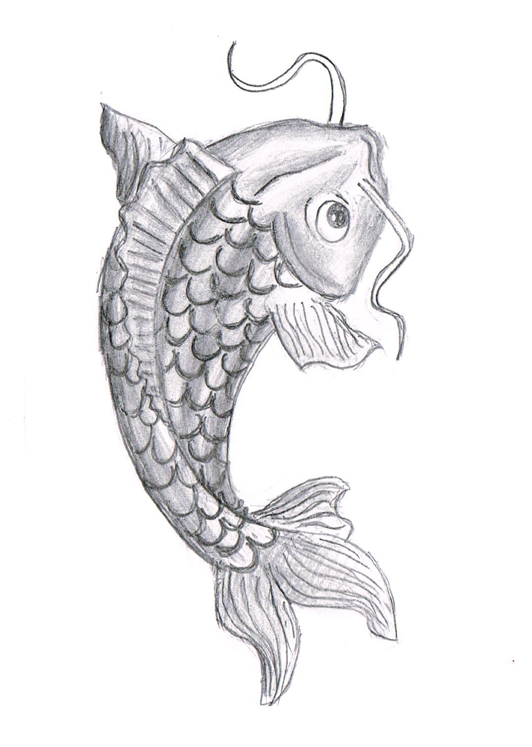 Koi Fish Drawing In Pencil Fish Drawing Pic...