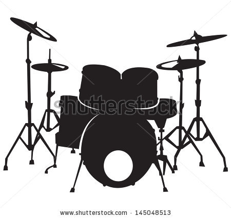 Don't forget to link to this page for attribution! White Drum Set Silhouette