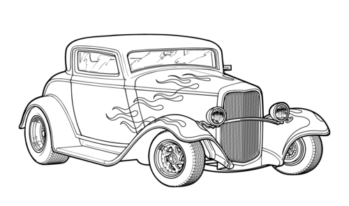 coloring pages of hot rods   Muscle Car Hot Rod Drawings - Cliparts.co