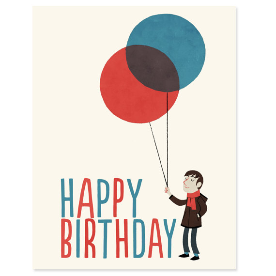 Items similar to Man with Balloons - Happy Birthday Card on Etsy