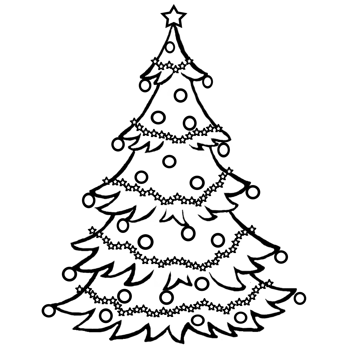 Line Drawing Christmas Tree : Christmas tree line drawing cliparts