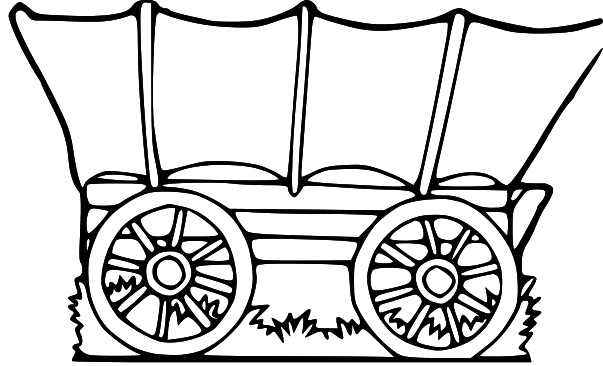 chuck wagon coloring page - covered wagon clip art