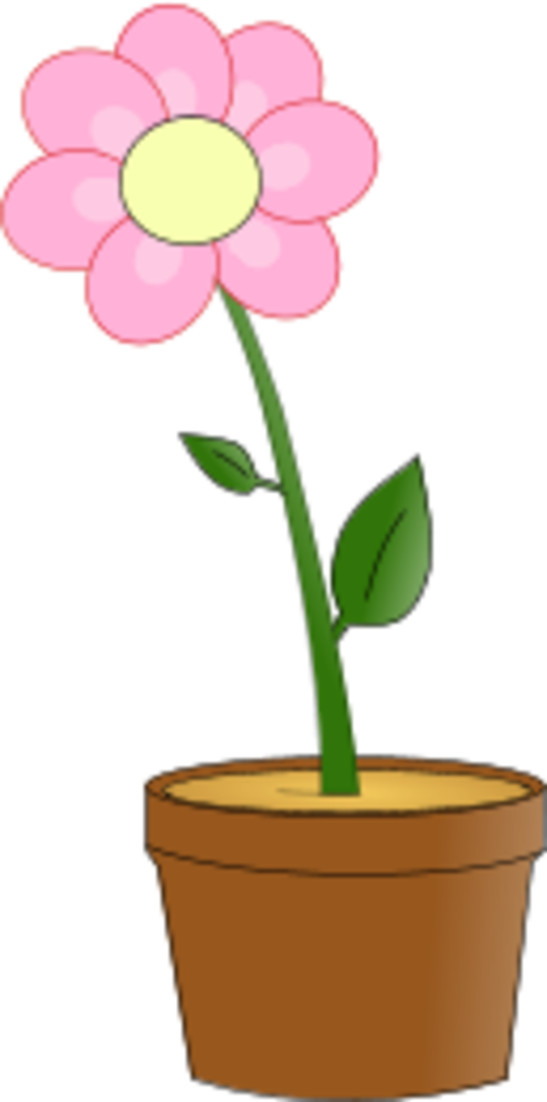 flower with leaves in a planting pot - vector Clip Art