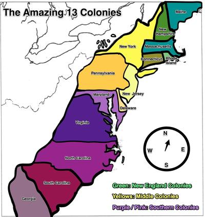 Picture Of The 13 Colonies Map - Cliparts.co