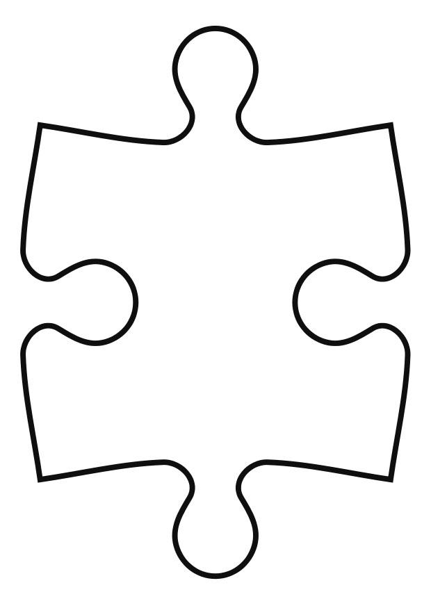 Large puzzle piece template for Puzzle a colorier