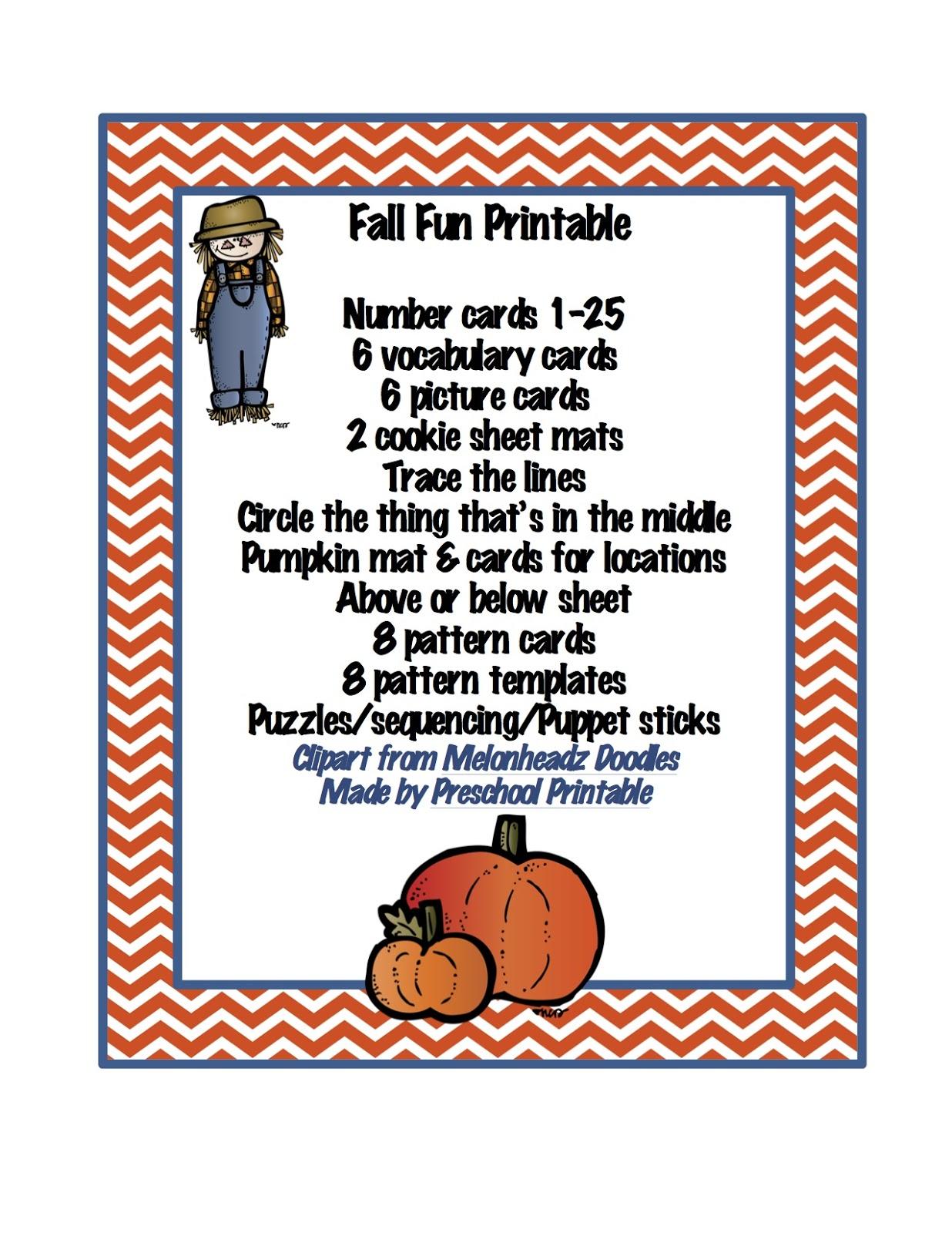 Preschool Printables: Fall Fun Printable - Cliparts.co