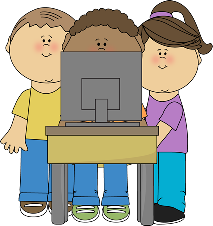 Kids Using School Computer Clip Art - Kids Using School Computer ...