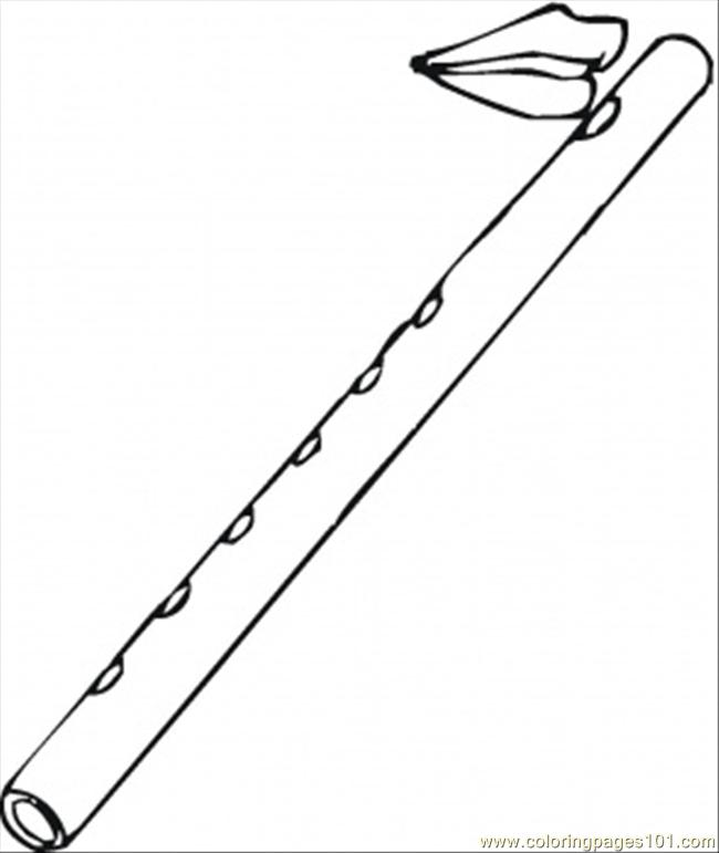 Flute And Lips Coloring Page