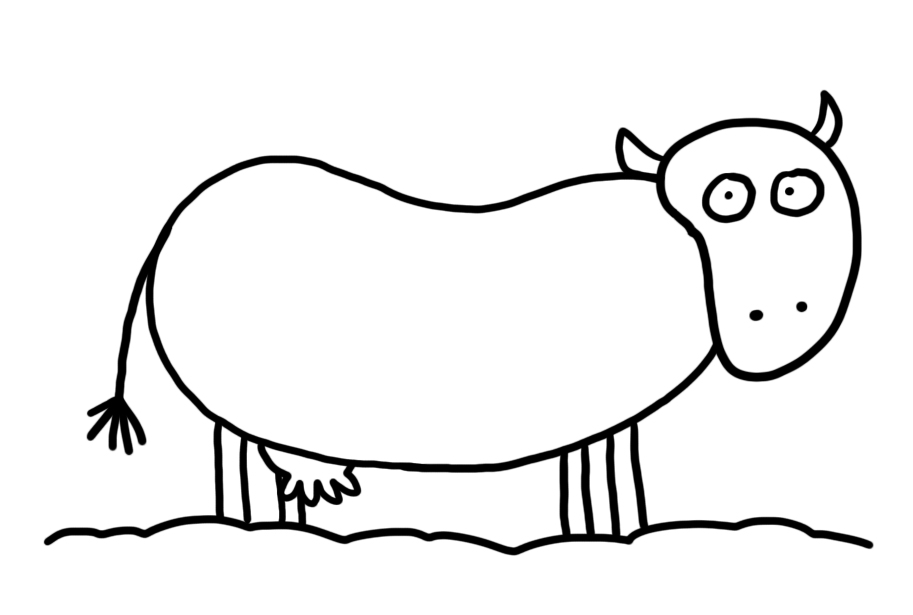 Line Drawing Cow : Cow line art cliparts