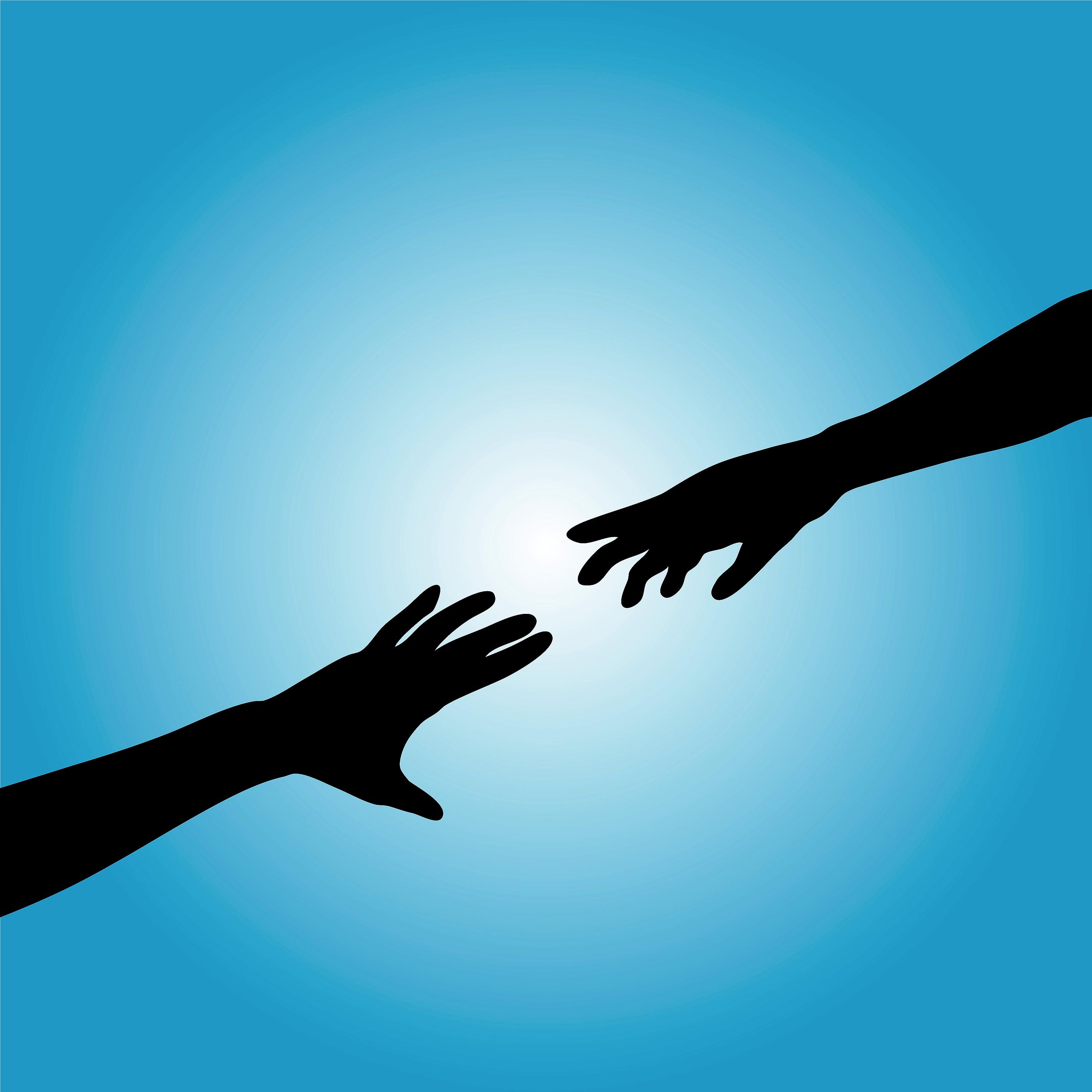 Reaching hand silhouette
