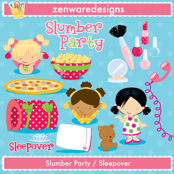 Slumber Party / Sleepover Graphics - Mygrafico.com