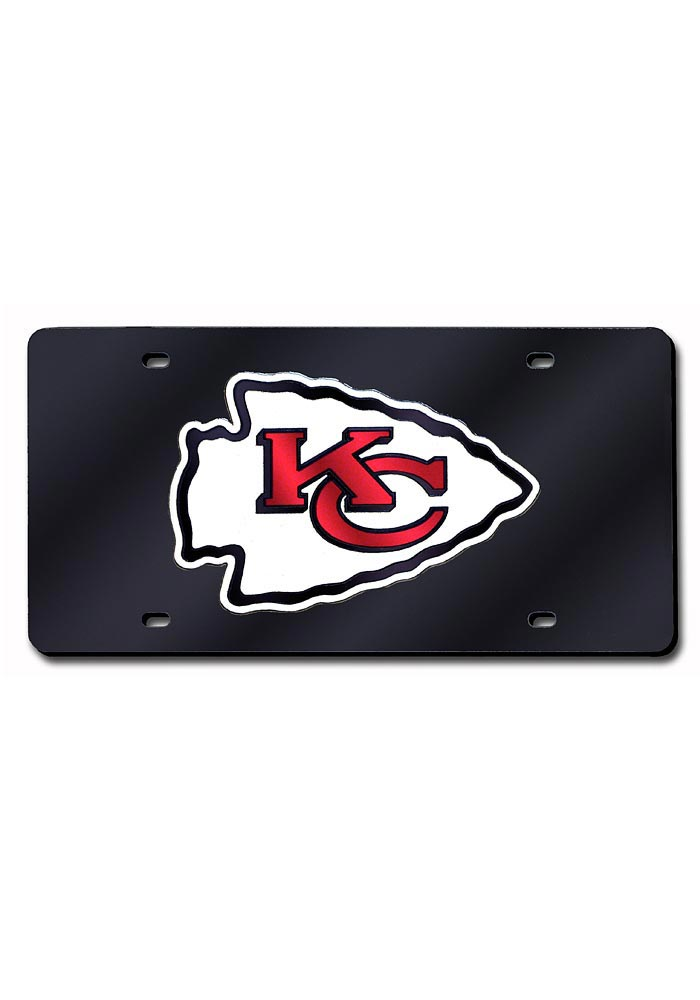 Kansas City Chiefs License Plate- KC Chiefs Black Laser Logo ...