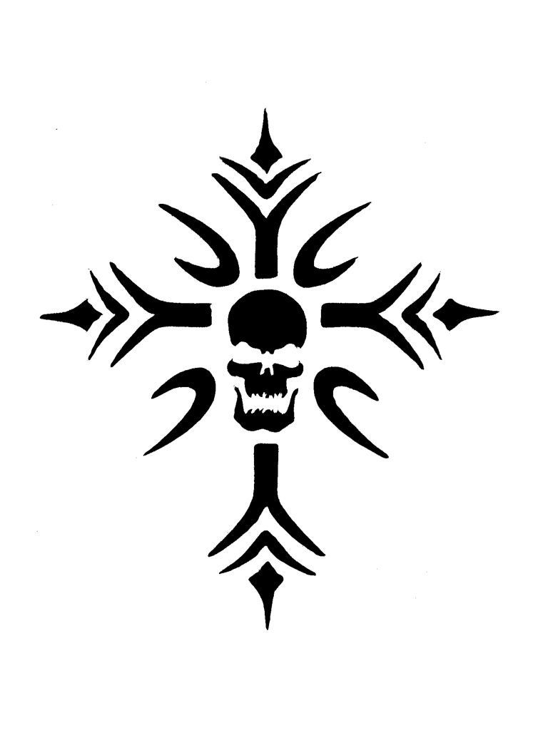 spiked cross skull tattoo stencils are ideal for glitter tattoos. Black Bedroom Furniture Sets. Home Design Ideas