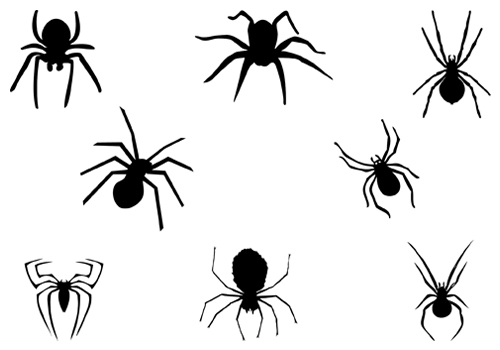 eight black spider silhouette halloween hanging spider silhouette - Halloween Spiders