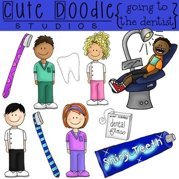 Going-to-the-Dentist-COMBO-Digital-Clip-Art-and-Black-Line-Stamps ...