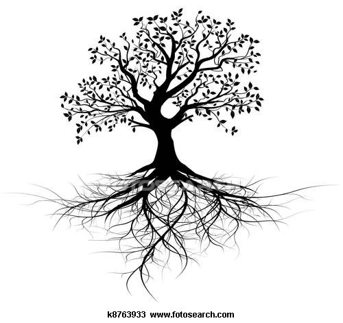 black tree with roots | Tree tattoo ideas | Pinterest