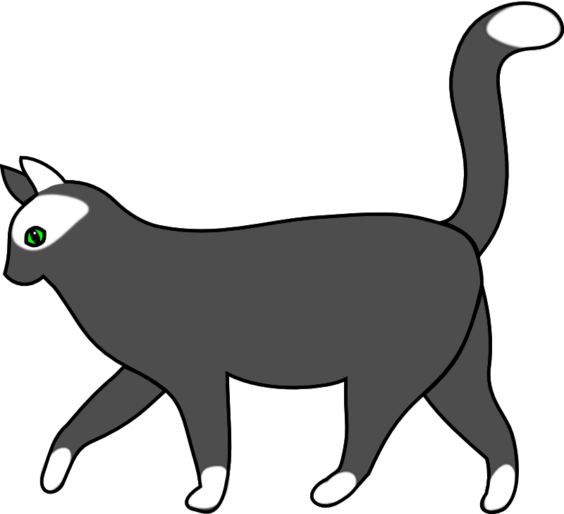 Clipart - white cat walking 1