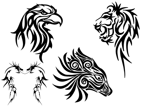 Free Tribal Animals Clip art: Eagle Head, Lion, Dragon and Horse ...