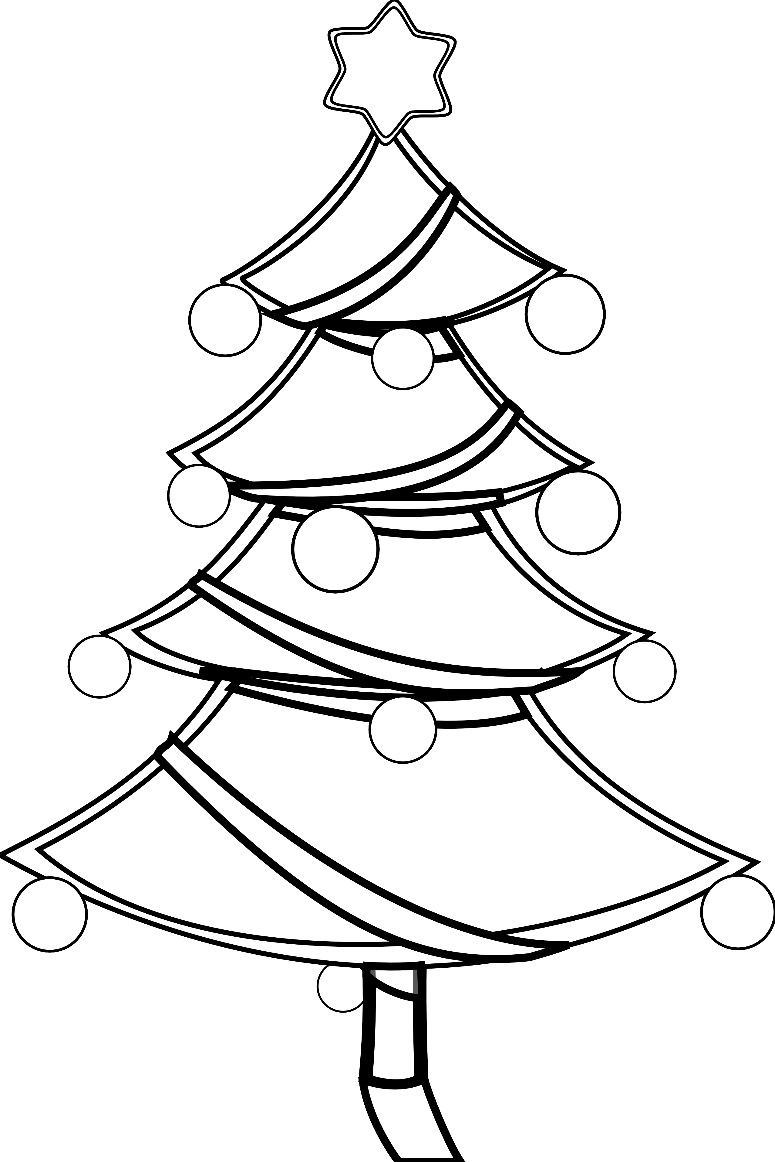 Line Art Xmas : Black and white christmas tree clip art cliparts