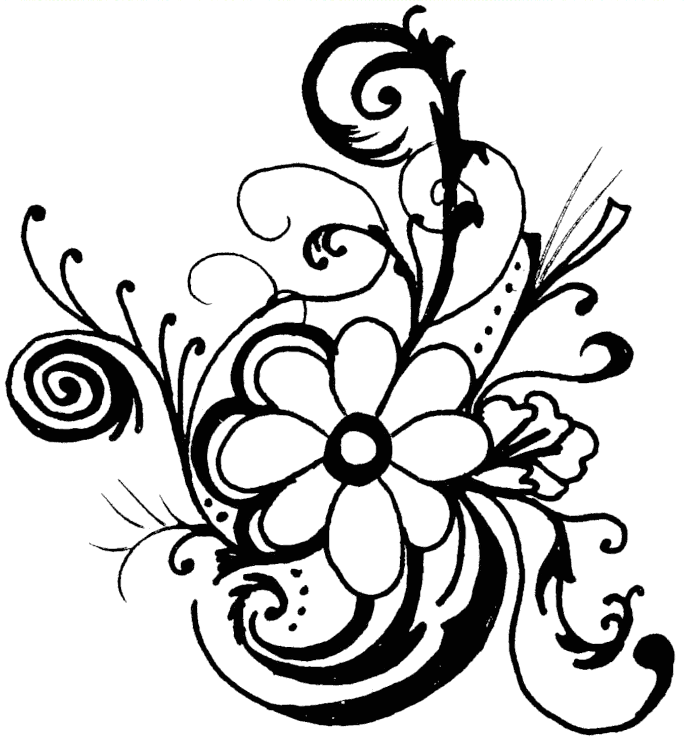 Line Art Flowers : Flower line art cliparts