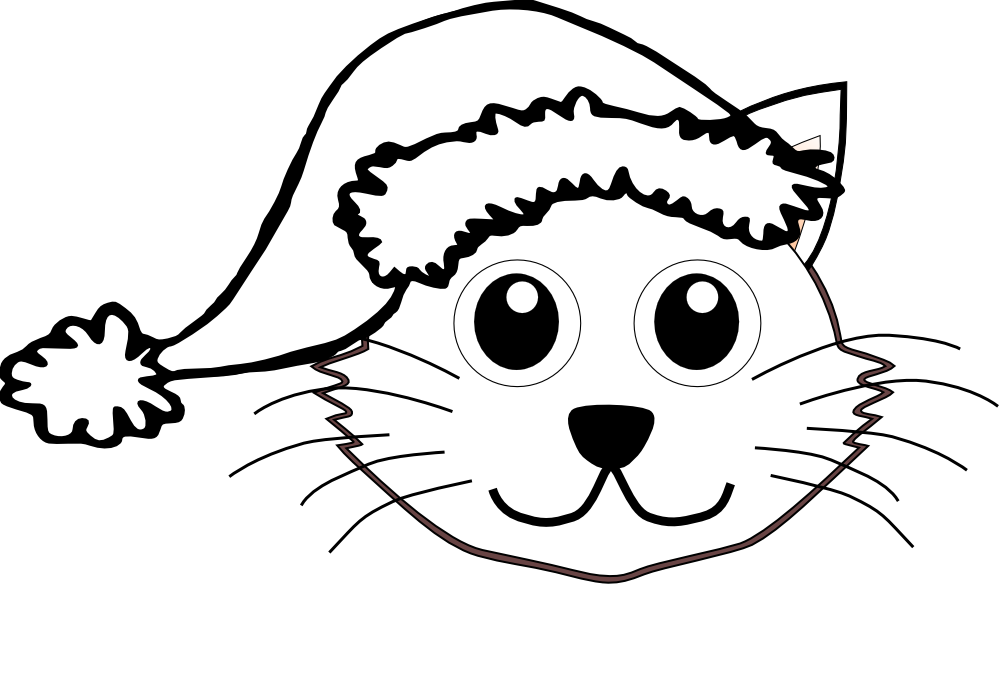 Cat 1 face with Santa Hat Black White Line Art Christmas Xmas ...