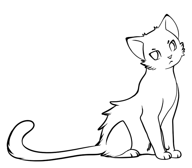 Line Drawing Kitty : Line art cat cliparts