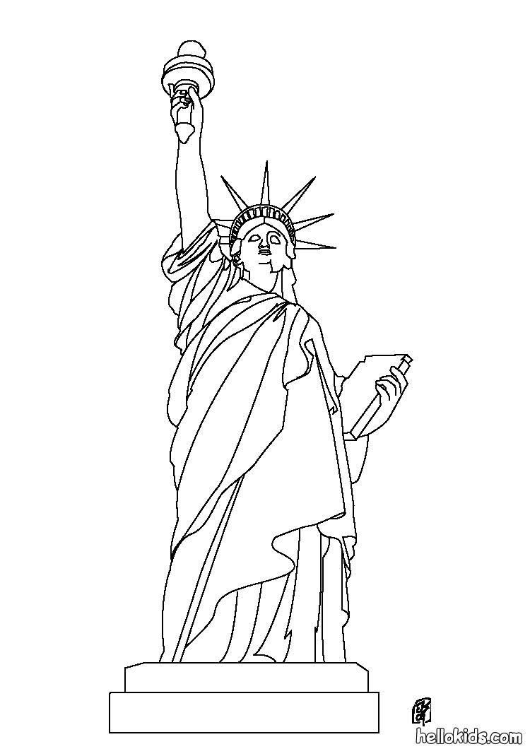 statue of liberty color page - coloring book page of statue of liberty