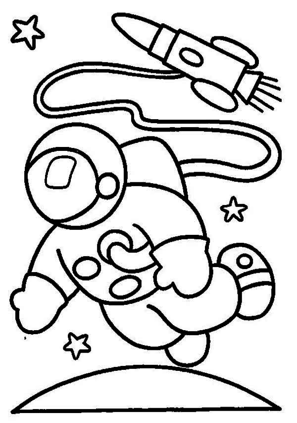 an astronaut in the moon orbit coloring page download