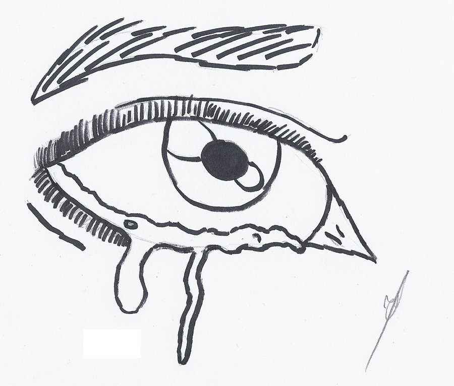 how to draw crying eyes step by step