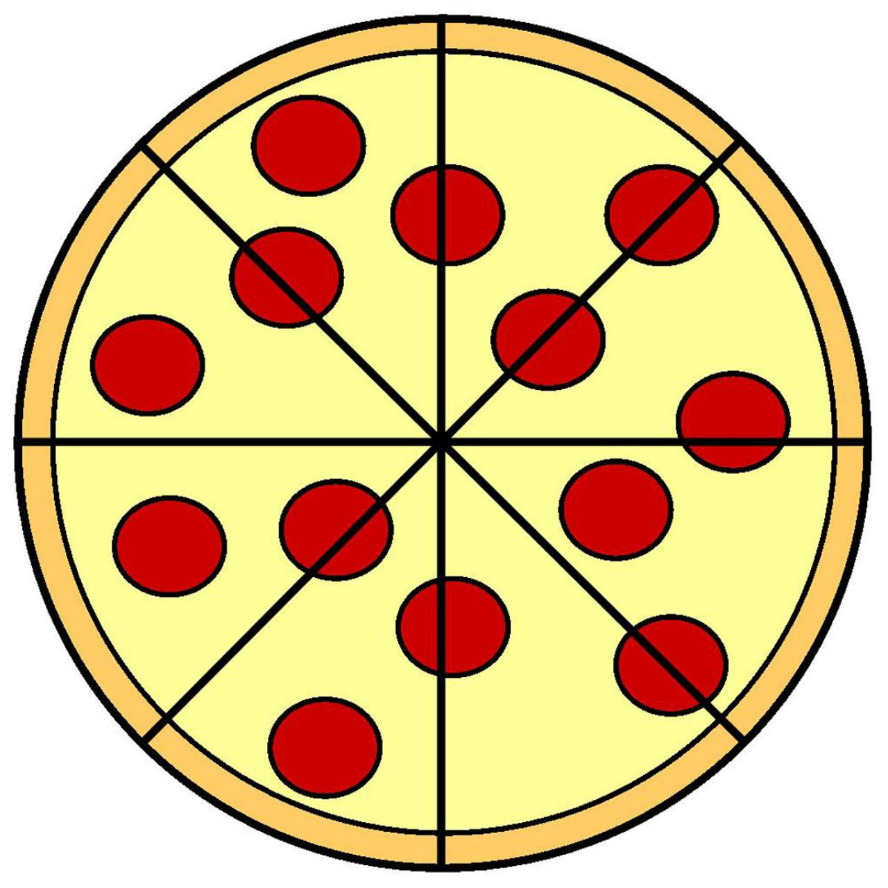Pizza Cartoon Clip Art on Circle Fraction